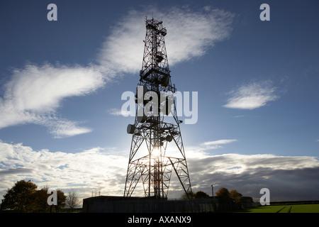 Telecommunication mast Telecommunications relay station near Hull East Yorkshire England UK - Stock Photo