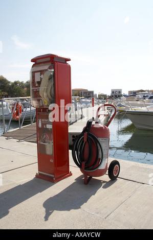 Fire Equipment Marina Greek Islands - Stock Photo