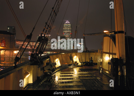 On deck, Canary Wharf, London, England Great Britain - Stock Photo