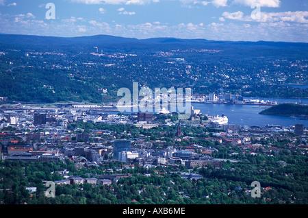 View from Holmenkollen ski jump, Oslo Norway - Stock Photo