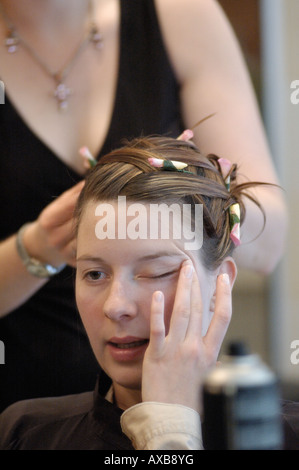 French bride in preparation to the hairdresser - Stock Photo