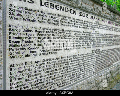 memorial wall for the victims of first world war with names of death fallen soldiers in the town Kulmbach in the - Stock Photo