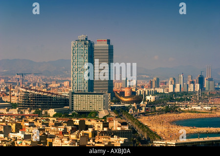 ESP Spanien Barcelona beach Platja de la Barceloneta Hotels Arts - Stock Photo