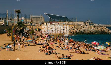 ESP Spain Barcelona beach Platja de la Barceloneta Forum - Stock Photo