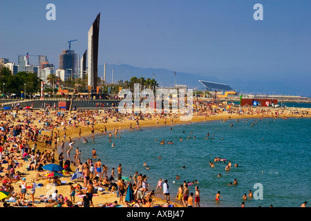 ESP Spain Barcelona beach Platja de la Barceloneta Forum Tele shot - Stock Photo