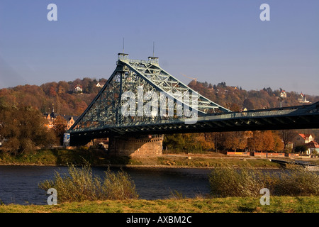 Dresden autumn Elbe bridge Blaues Wunder , blue wonder - Stock Photo