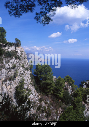 View from Salto di Tiberio to Punta Campanella on mainland Capri Campania Italy - Stock Photo