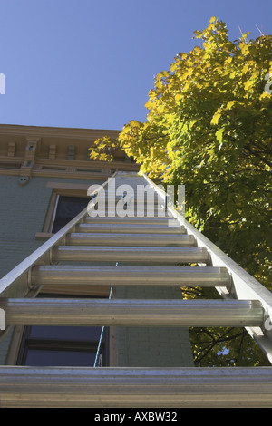 Vertical close up view of ladder against building from below. - Stock Photo