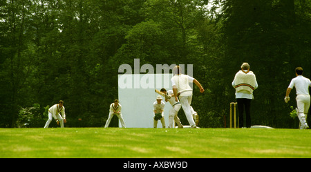 Cheshire Sport village cricket game in progress - Stock Photo
