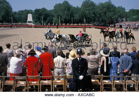 The Queen arrives on Horseguards Parade for the Trooping the Colour Ceremony on her official birthday, London, UK - Stock Photo