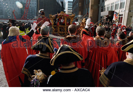 Lord Mayor leaving Guildhall at start of annual Lord Mayor Show in London, UK - Stock Photo