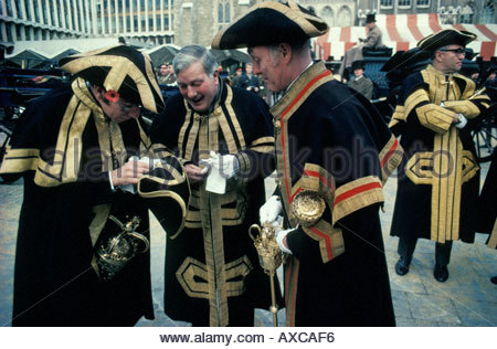 Aldermen in the City s Guildhall courtyard preparing for the start of the annual Lord Mayor of London s Annual Parade, - Stock Photo