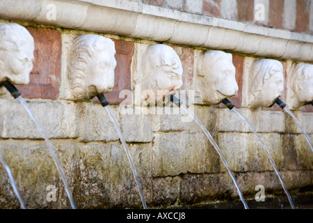 Fontane delle 99 Cannelle Fountain of 99 spouts L Aquila Abruzzo Italy - Stock Photo