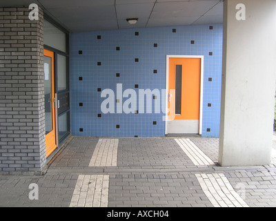 entrance to apartment building Almere Netherlands - Stock Photo