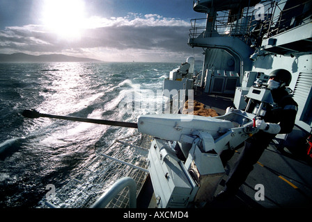 The starboard Gambo 20 mm cannon on the Type 42 Destroyer HMS Gloucester (1985 - 2011) during Joint Warrior, exercises - Stock Photo