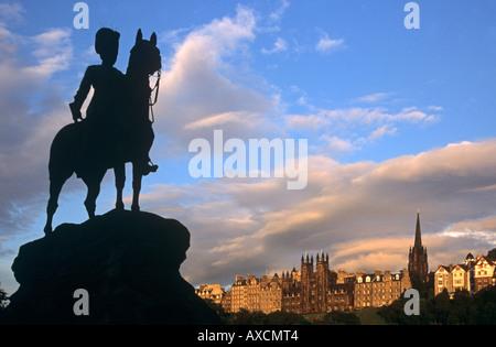 Royal Scots Greys monument Princes Street Edinburgh Scotland - Stock Photo