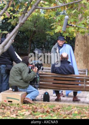 tv crew filming in rome, italy - Stock Photo