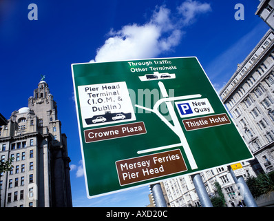 Sign at Liverpools Pier Head showing directins to Thistle Hotel Crown Plaza and the Isle of Man and Dublin Terminal - Stock Photo