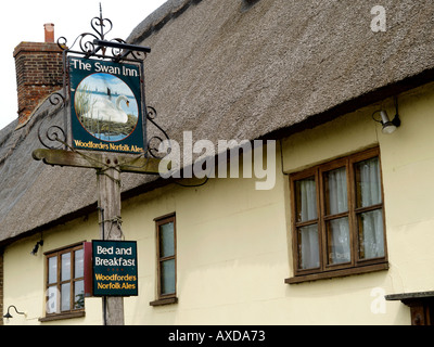 EXTERIOR OF SWAN PUBLIC HOUSE AND SIGN INGHAM NORFOLK EAST ANGLIA ENGLAND UK - Stock Photo