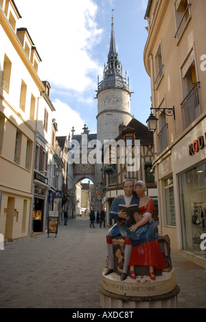 The Tour de I'Horloge with 15th century clockface in Auxerre in Burgundy, France. - Stock Photo