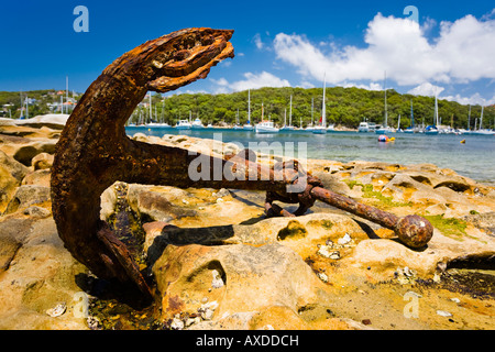Big rusty anchor Manly Oz - Stock Photo