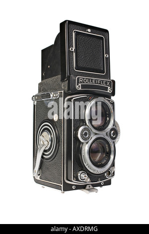 A Rolleiflex 3.5E Planar TLR camera with viewing hood open This is a workhorse camera not a collectors specimen - Stock Photo