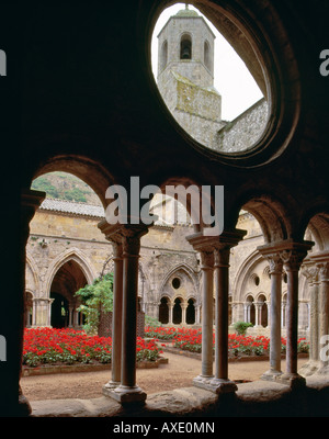 Cloister in Fontfroide Abbey near Narbonne Aude France - Stock Photo
