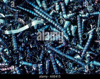 steel swarf industrial scrap metal waste material - Stock Photo