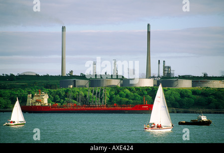 Oil terminal refinery LPG LNG industry terminal and tanker at petrochemical industrial complex at Milford Haven, Wales, UK