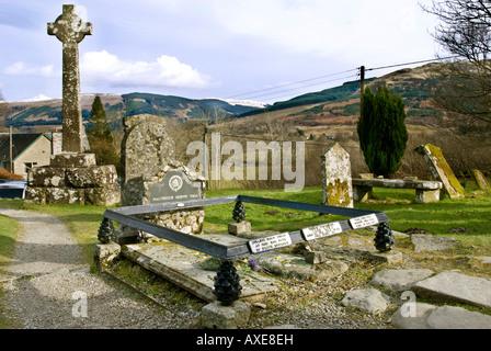 The grave of Rob Roy McGregor at Balquhidder church in Strathyre Scotland