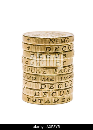 Stack of £1 pound coins sterling - macro - Stock Photo