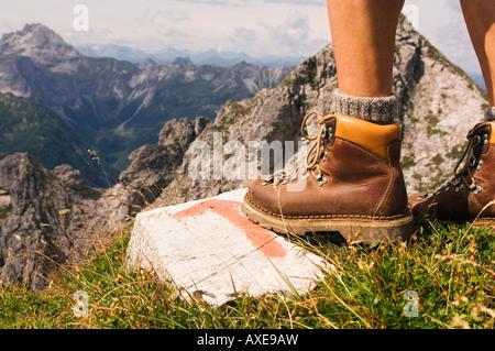 Austria, Salzburger Land, hiking man, low section - Stock Photo