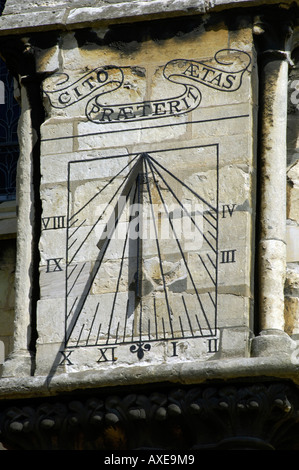 Sundial on south wall of Lincoln Cathedral - Stock Photo