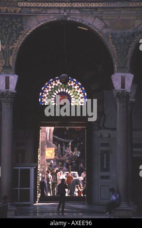 Souk Hamadiya seen through entrance to New Umayyad Mosque in Damascus Syria - Stock Photo
