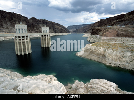 View of Lake Mead from the Hoover Dam - Stock Photo