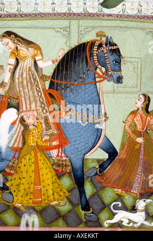 Kotah (India) Woman riding horse c 1775 kanoria. Indian miniature painting, Rajasthan India - Stock Photo