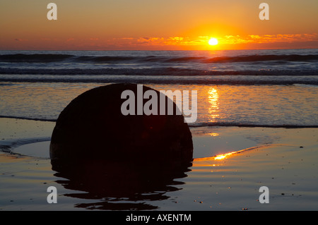 Sunrise Moeraki Boulders North Otago South Island New Zealand - Stock Photo