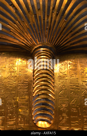 The rear view of the golden death mask of Tutankhamun Cairo Museum - Stock Photo