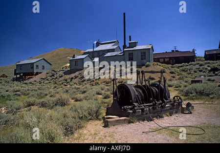 The remains of the mining complex and winch at Bodie California USA - Stock Photo