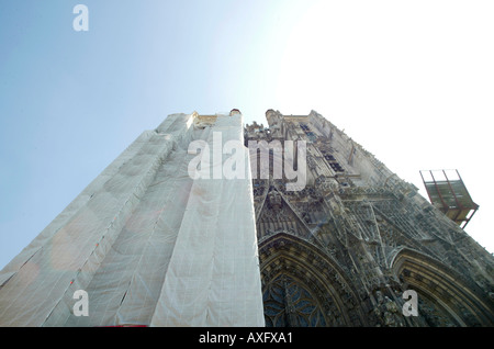 Abbeville Cathedral Tower Half Covered For Renovation Work - Stock Photo