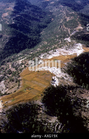 Mexico. Small farms mostly growing corn in the high Sierra Tarahumara. It gets very cold and snows here in winter - Stock Photo