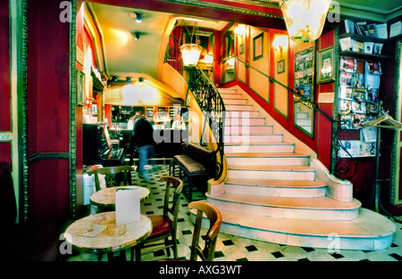 Paris France, 'Le Procope Cafe' stairs Interior 'Marble Staircase' and View to Bar - Stock Photo