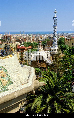 Barcelona city from Park Guell, Barcelona, Spain - Stock Photo