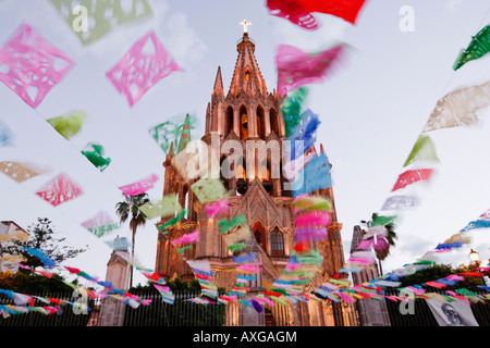 La Parroquia During Day of the Dead, San Miguel de Allende, Mexico - Stock Photo