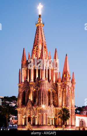La Parroquia at Dusk, San Miguel de Allende, Mexico - Stock Photo