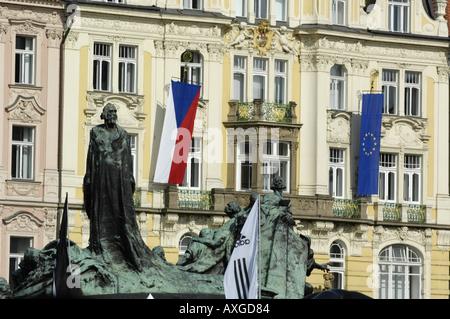 Prague city center row of houses - Stock Photo