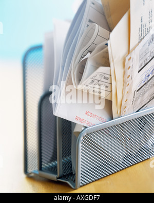 desk finance bills home office payment due debt organized paperwork paper overdue credit invoices pay account filing - Stock Photo