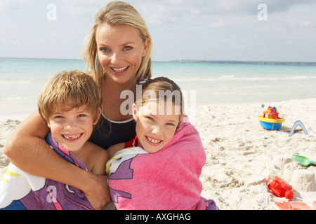Portrait of Mother with Children on Beach, Majorca, Spain