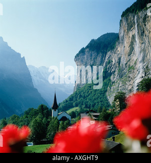 Lauterbrunnen valley, Switzerland, Bernese Oberland, Swiss Alps - Stock Photo