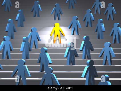 person in spotlight surrounded by others Person im Rampenlicht von anderen umgeben - Stock Photo